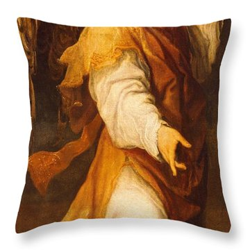Announcing Angel Throw Pillow by Annibale Carracci
