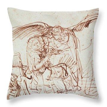 Annunciation  Throw Pillow by Rembrandt Harmenszoon van Rijn