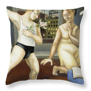 Annunciation With Yellow Dress Throw Pillow by Caroline Jennings