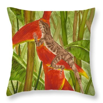 Anolis Humilis Throw Pillow by Cindy Hitchcock