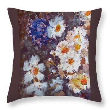 Another Cluster Of Daisies Throw Pillow by Richard James Digance