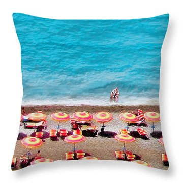 Another Day In Paradise-positano-digitized Throw Pillow by Jennie Breeze