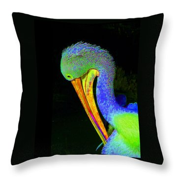 Throw Pillow featuring the photograph Another Pelican Partygoer by Margaret Saheed
