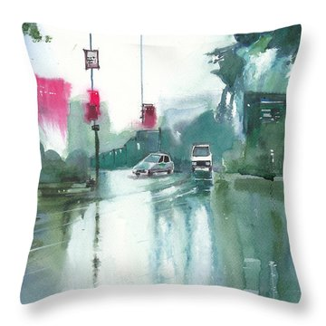 Another Rainy Day Throw Pillow by Anil Nene