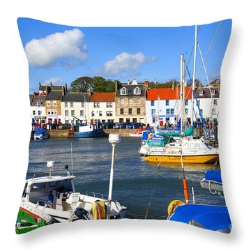 Anstruther Harbour Throw Pillow