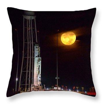 Antares Rocket At Launch Pad Throw Pillow