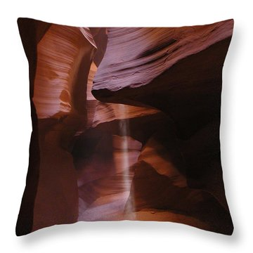 Throw Pillow featuring the photograph Antelope Canyon With Light Beam by Alan Socolik
