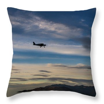 Throw Pillow featuring the photograph Antelope Island - Lone Airplane by Ely Arsha