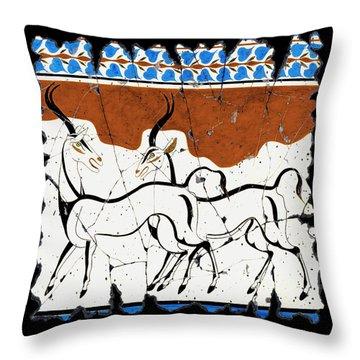 Antelope Of Akrotiri Throw Pillow by Steve Bogdanoff