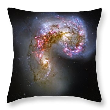 Antennae Galaxies Collide 1 Throw Pillow by Jennifer Rondinelli Reilly - Fine Art Photography