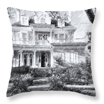 Anthemion At 4631 St Charles Ave. New Orleans Sketch Throw Pillow by Kathleen K Parker