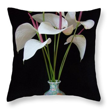 Anthurium Bouquet Throw Pillow by Mary Deal