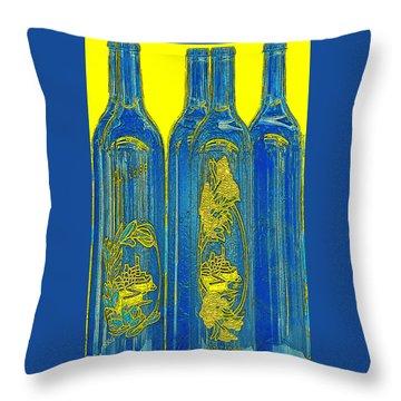 Antibes Blue Bottles Throw Pillow