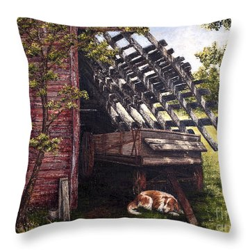 Anticipation - Farm Life Throw Pillow