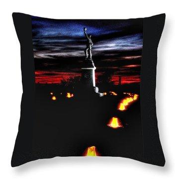 Antietam Memorial Illumination - 3rd Pennsylvania Volunteer Infantry Sunset Throw Pillow by Michael Mazaika