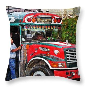 Antigua Bus Stop Throw Pillow