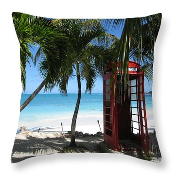Antigua - Phone Booth Throw Pillow