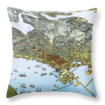 Antique 1891 Seattle Map Throw Pillow by Dan Sproul