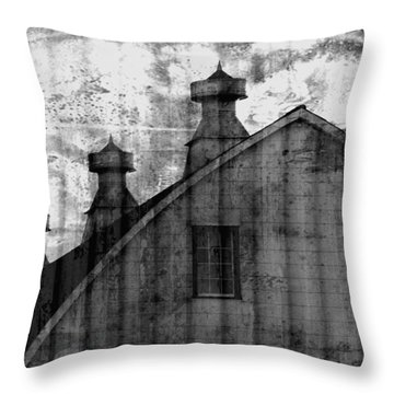 Antique Barn - Black And White Throw Pillow