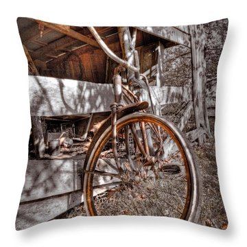 Antique Bicycle Throw Pillow by Debra and Dave Vanderlaan