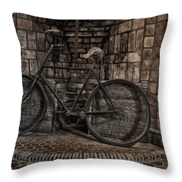 Antique Bicycle Throw Pillow by Susan Candelario