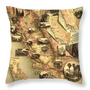 Antique California Map Throw Pillow by Gary Grayson