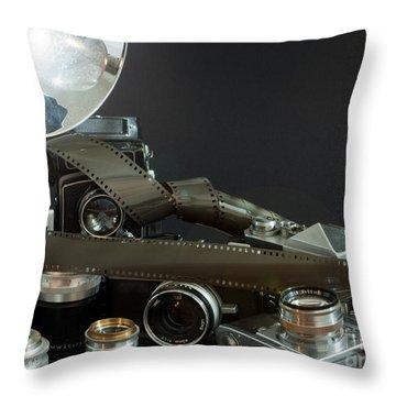 Throw Pillow featuring the photograph Antique Cameras by Gunter Nezhoda