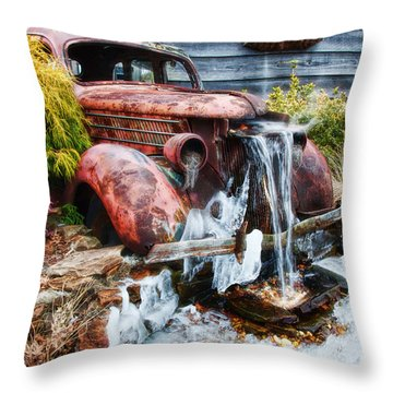Antique Car Water Fountain Columbus Georgia Throw Pillow