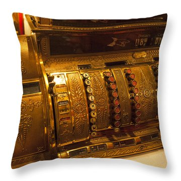 Throw Pillow featuring the photograph Antique Cash Register by Jerry Cowart