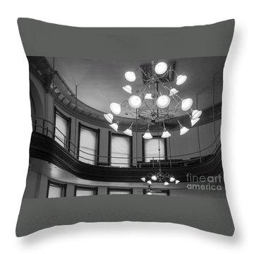 Antique Chandelier In Old Courtroom Throw Pillow