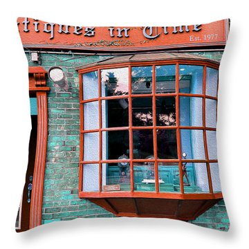 Antique Clock Shop Throw Pillow by Nina Silver