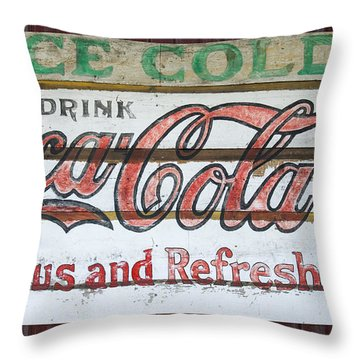Antique Coca Cola Sign  Throw Pillow