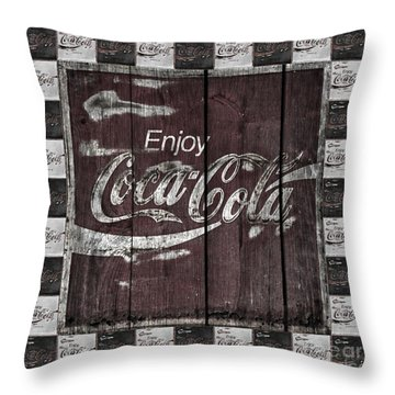 Antique Coca Cola Signs Throw Pillow by John Stephens