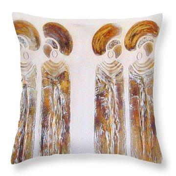 Antique Copper Zulu Ladies - Original Artwork Throw Pillow