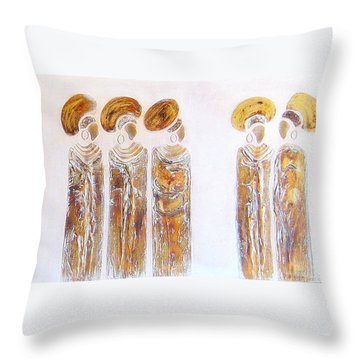 Antique Copper Zulu Ladies - Original Artwork Throw Pillow