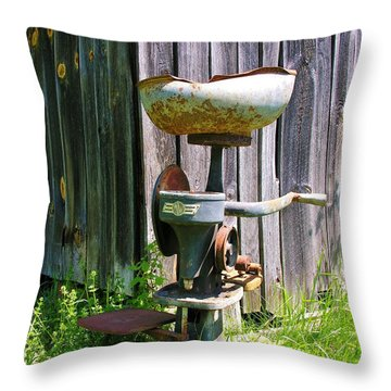 Throw Pillow featuring the photograph Antique Cream Separator by Sherman Perry