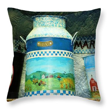 Throw Pillow featuring the photograph Antique Dairy Milk Can And Pails by Judy Palkimas