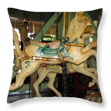 Throw Pillow featuring the photograph Antique Dentzel Menagerie Carousel Cat by Rose Santuci-Sofranko