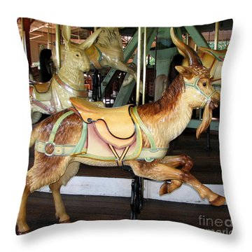 Antique Dentzel Menagerie Carousel Goat Throw Pillow