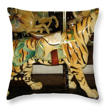 Throw Pillow featuring the photograph Antique Dentzel Menagerie Carousel Tiger by Rose Santuci-Sofranko