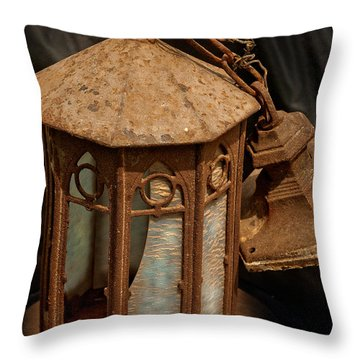 Antique Entry Light Of Historic Church Throw Pillow by Lena Wilhite