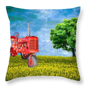 Antique Farmall Tractor Throw Pillow by Fred Larson