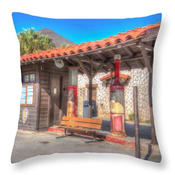 Antique Gas Station Throw Pillow by Heidi Smith