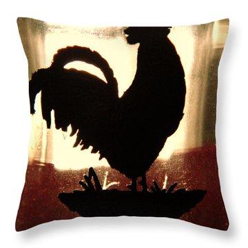 Antique Glass Chicken Silhouette Throw Pillow