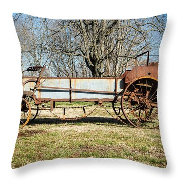 Antique Hay Bailer 3 Throw Pillow by Douglas Barnett