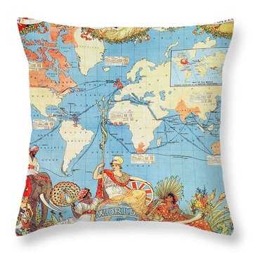 Antique Illustrated Map Of The World Throw Pillow by Anonymous