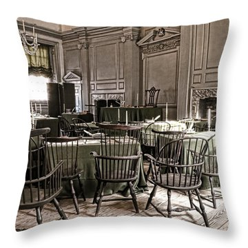 Antique Independence Hall Throw Pillow by Olivier Le Queinec