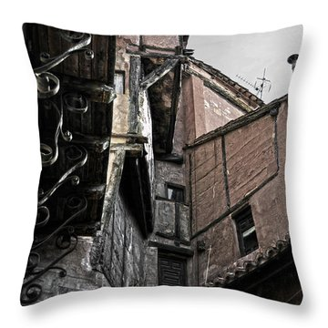 Antique Ironwork Wood And Rustic Walls Throw Pillow by RicardMN Photography