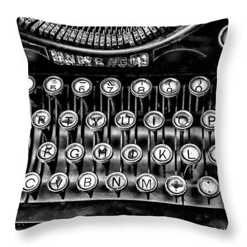 Antique Keyboard - Bw Throw Pillow by Christopher Holmes