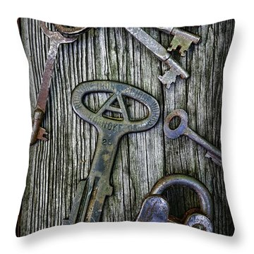 Antique Keys And Padlock Throw Pillow by Paul Ward